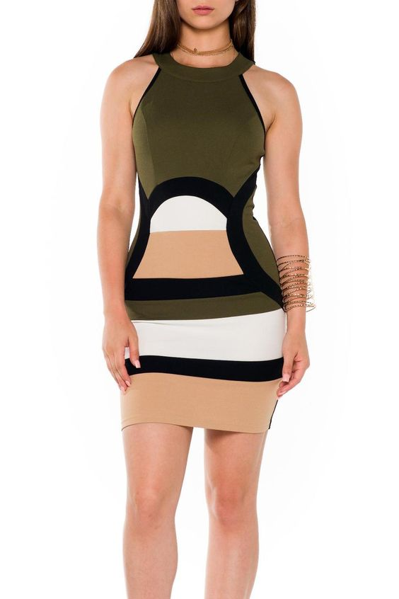 Keep it short with fun! Stretch color block fabric this tank style mini dress has racer back and exposed back zipper closure.  Color Block Dress by LA Roxx. Clothing - Dresses - Night Out Miami Florida