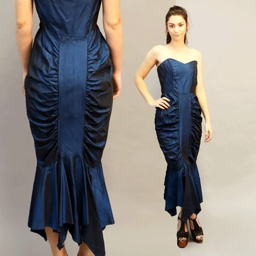 vintage 80s electric BLUE Avant Garde bombshell mermaid cocktail party dress S #SteppinOutLosAngelesNewYorkParis