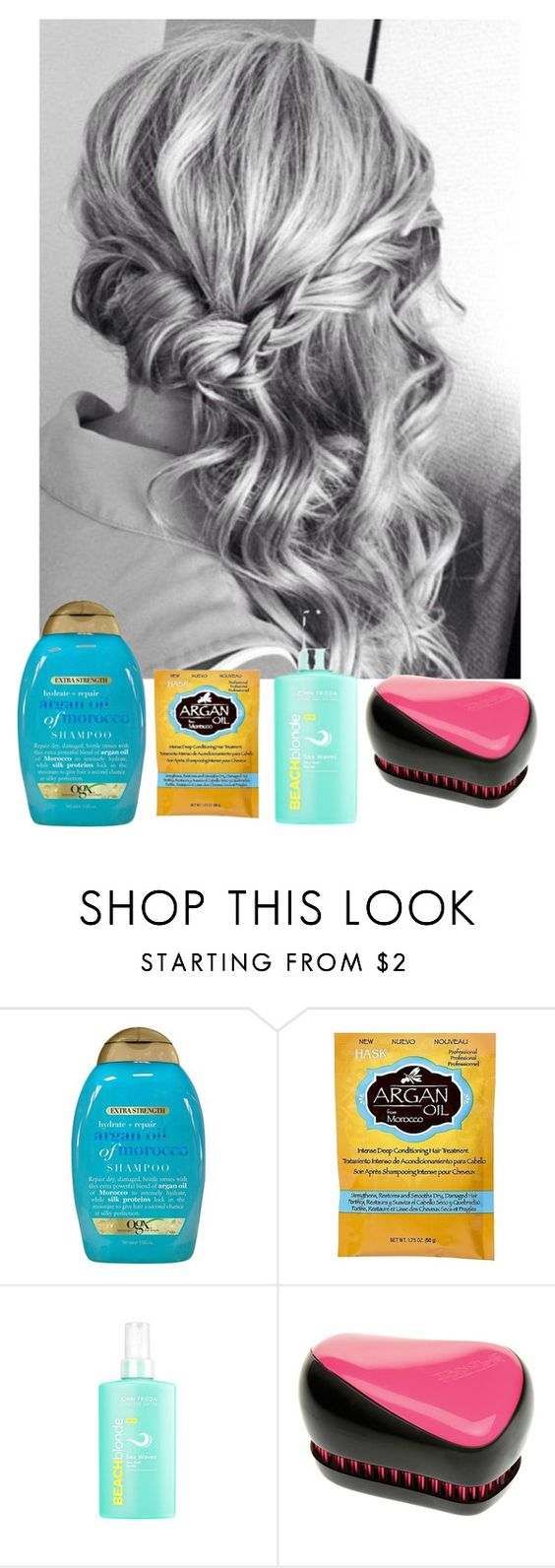 """""""my hair routine"""" by olesyabond ❤ liked on Polyvore featuring beauty, Organix, Tangle Teezer, hair, blonde, routine and hairroutine"""