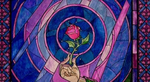 the beauty and the beast rose stained glass