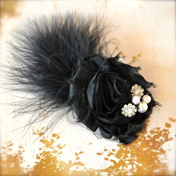 Black flower feather hair clip with pearls by TutusChicBoutique, $9.00