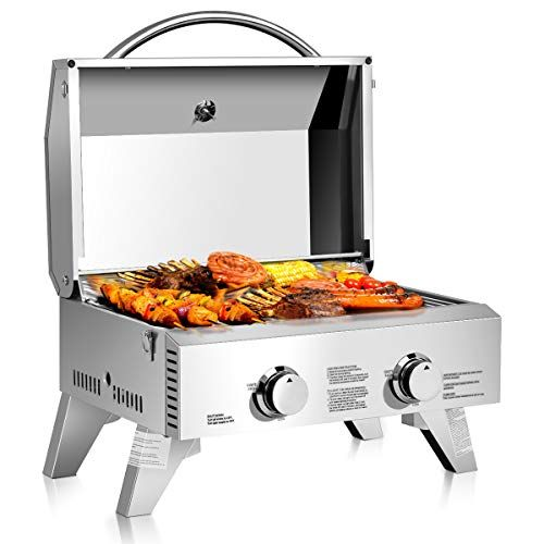 Giantex Propane Tabletop Gas Grill Stainless Steel Two Burner Bbq With Foldable Leg 20000 Btu Perfect For Campin Best Gas Grills Propane Gas Grill