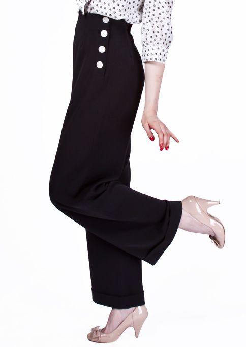 1940s Swing Trousers - Black £65.00 AT vintagedancer.com