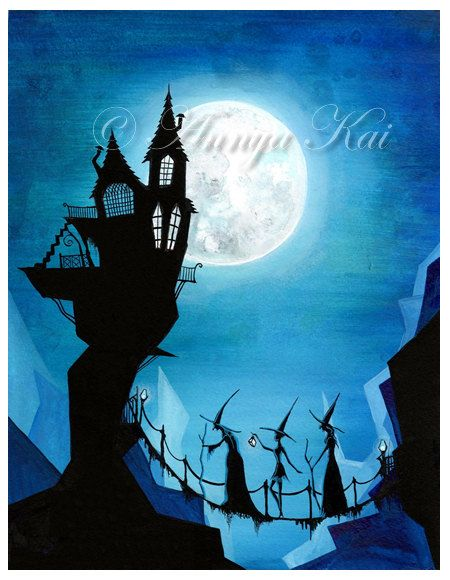 Peinture aquarelle de sorci re sorci re art de sorci re decor witchy s urs et une lune for Peinture murale argentee