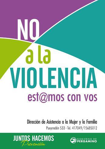 Amor Sin Agresión / #NoaLaViolencia  Para asesoramiento podés acercarte a la Dirección de la Mujer y la Familia, Pueyrredón 533. Tel: 417049  Juntos hacemos #Prevención