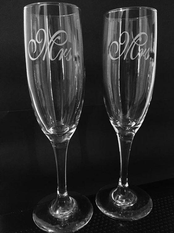 Mrs ans Mrs same sex wedding wineglass set by ExpressionsGlassware $20 https://www.etsy.com/shop/ExpressionsGlassware