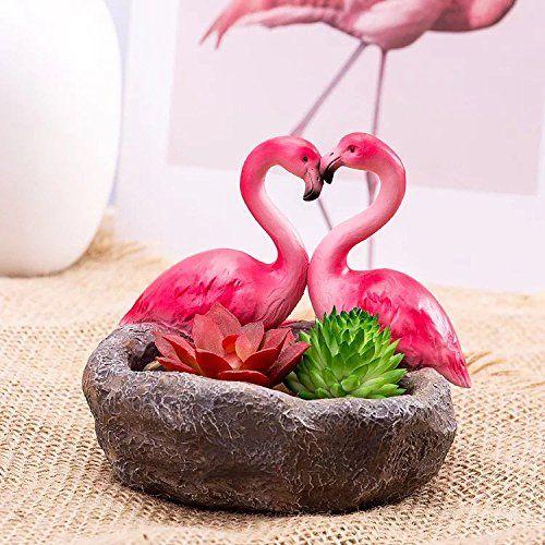 Amazon Sweetlifeidea Resin Love Heart Flamingo Cacus Succulent Plant Bonsai Pots Planting Succulents Ceramic Flower Pots Bonsai Pots