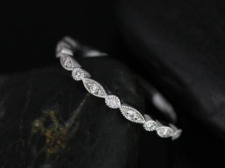 Ultra Petite Bead & Eye 14kt White Gold Vintage Style WITH Hand Milgrain Halfway Eternity Band (Available in other metals and stones)