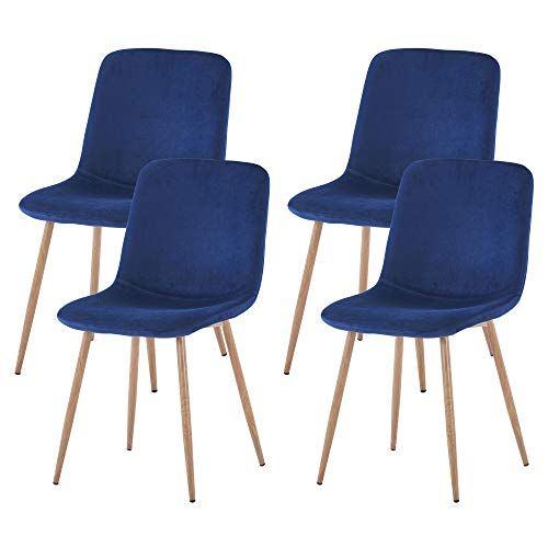 Foodage Modern Dining Chairs Set Of 4 Velvet Upholstered Kitchen Side Chairs With Sturdy Metal Le Dining Chairs Upholstered Dining Chairs Modern Dining Chairs Dining chair set of 4