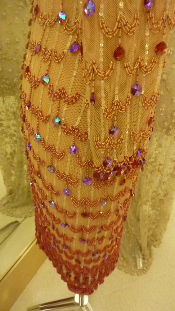 Detalhe do vestido da exposição de vestidos de Clodovil Hernandes