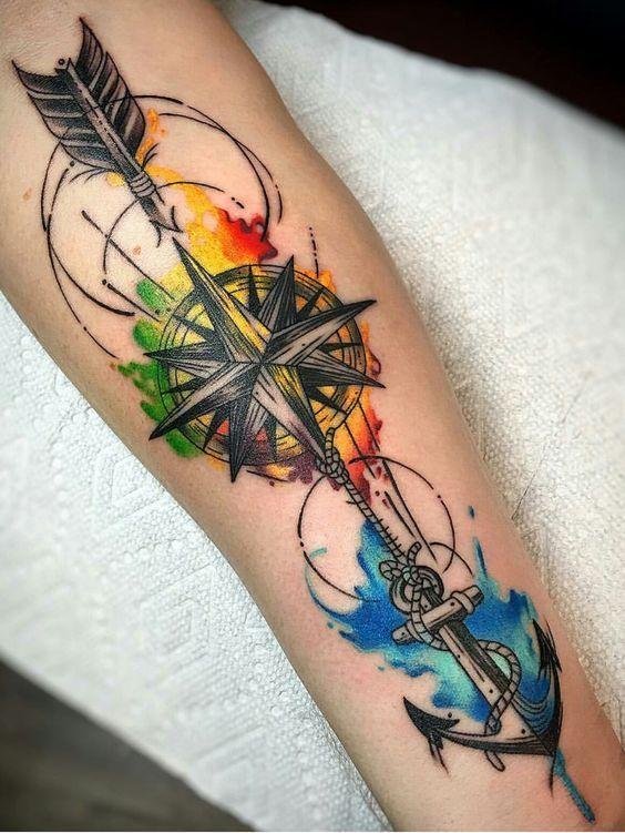 Colored Tattoo Colored Tattoo Men Wrist Colored Tattoo Wrist Tattoo Colored Tattoos For Men Tattoos For Guys Watercolor Arrow Tattoo Tattoos
