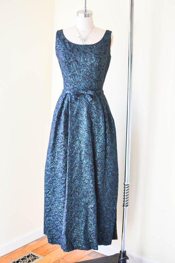 Vintage Black Brocade Evening Dress, Brocade Sleeveless Holiday Dress, Black New Years Dress by hossandgoose on Etsy