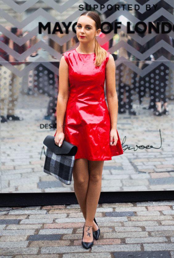 fashion, london fashion week, street style, red latex dress