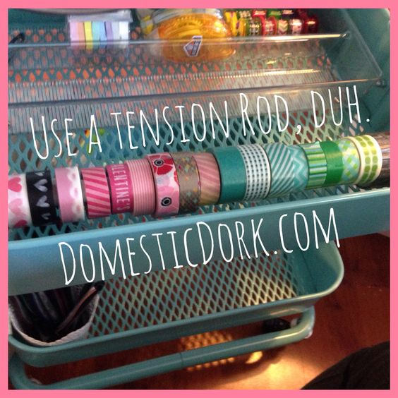 The Ikea hack so simple you could have thought of it. But you didn't. Perfect organization solution for ribbon, washi, and other craft supplies on rolls. #ECLP #lifeplanner #ErinCondren