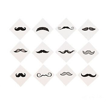 Mustache Party Fingerstache Temporary Tattoos   36ct