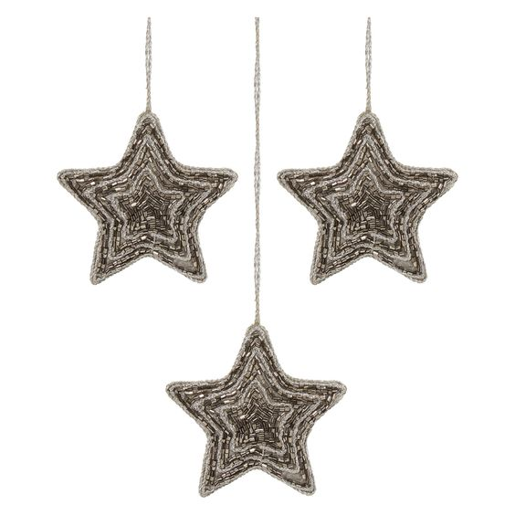 """""""Bella Lux"""" Set Of 3 Beaded Hanging Star Decorations"""