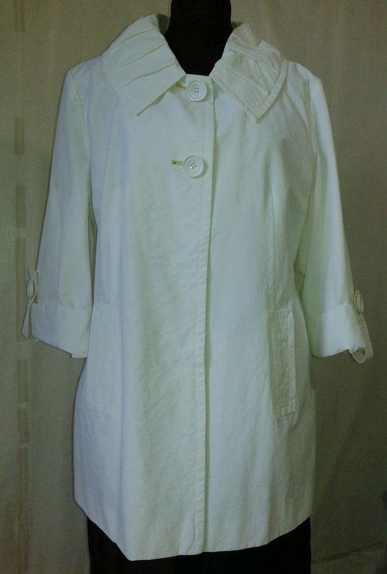 Womens White Cotton Fashion Coat Size Med Lined 3/4 Sleeve Larry Levine #LarryLevine #CoatJacket