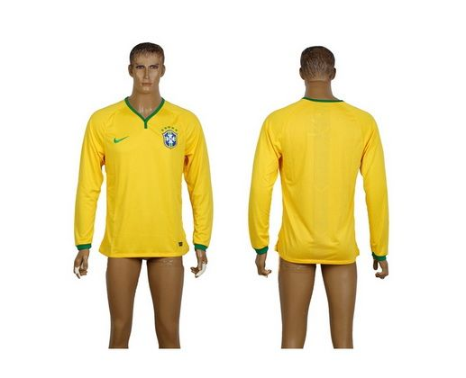 AAA+ Thailand 2014 Brazil Long Sleeve Home Yellow Soccer Jersey prices USD $19.50 #cheapjerseys #sportsjerseys #popular jerseys #NFL #MLB #NBA