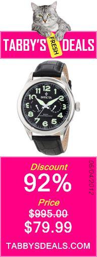 Invicta Men's 11741 Vintage Master Calendar Black Dial Black Leather Watch $79.99