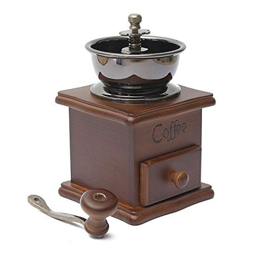 Numberninemini Manual Coffee Mill Wooden Stand Bowl Antique