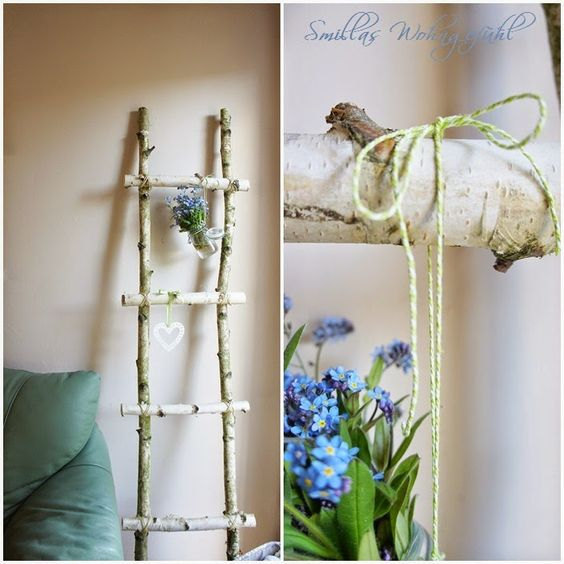 diy ladder from birchwood anleitung f r selbstgebaute leiter aus birken sten garten. Black Bedroom Furniture Sets. Home Design Ideas