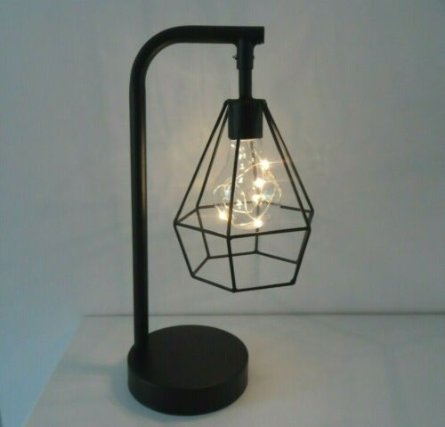 Retro  Geometric Wire Industrial LED Light Bulb Bed Side Battery Table Lamp  UK