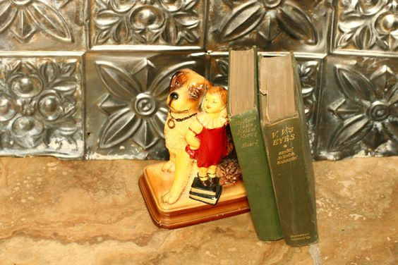 Vintage Chalk-ware Bookend, Old Figurine with Dog and Girl by vintageatmosphere on Etsy