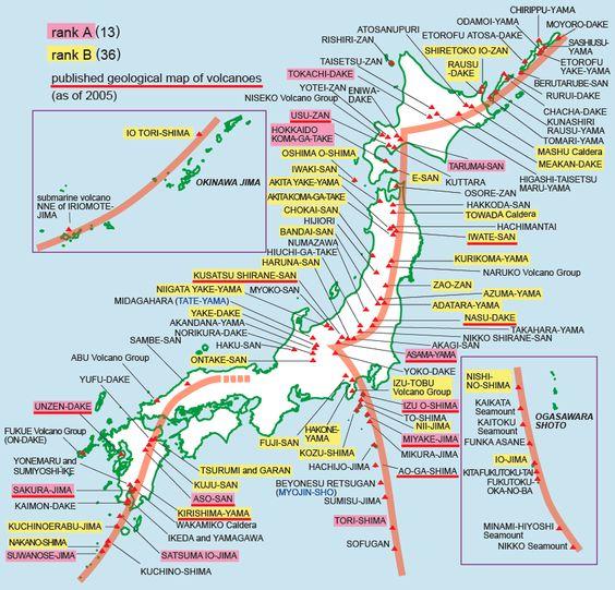 MtSakuraJimaJapan Continuous Eruption Most Active - Japan volcano map