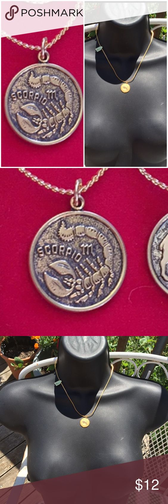 """Vintage zodiac Scorpio Gold plated necklace Vintage pendant zodiac necklace, gold plated, does not have a stamp on necklace just tag so I don't know the karat , new with gold tag attached.  Pendant has a antique finish.  16"""" chain with a 3/4"""" pendant.  I have a number of zodiac necklaces on. Vintage Jewelry Necklaces"""