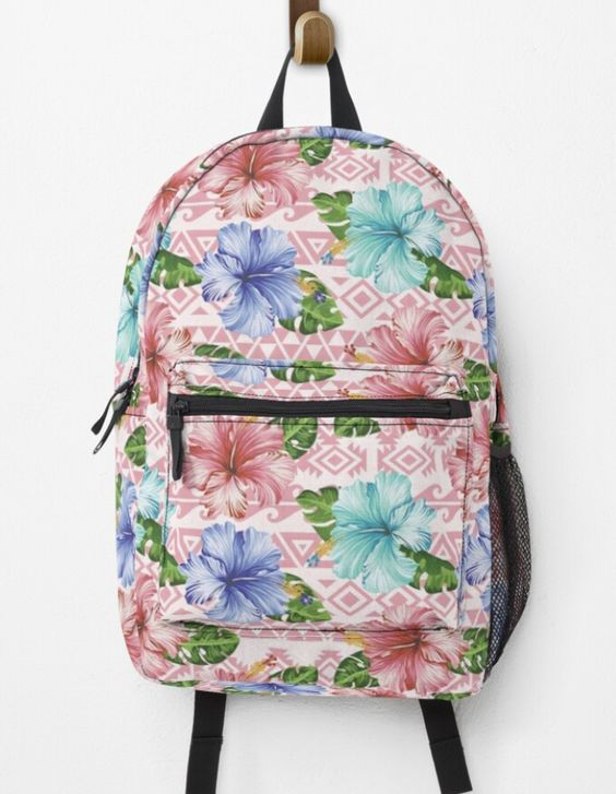 Redbubble Designbyhuman Teepublic Society6 Printondemand Backpack Flower Graphic Tropical Hibiscus Pattern Surfacedesign