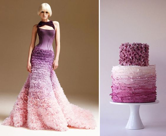 Ombre dress and cake in shades of purple