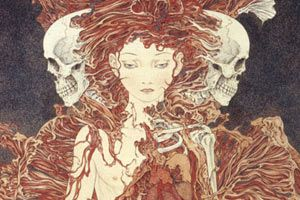 """The exquisite art of Takato Yamamoto (1960-) explores themes of darkness,  bondage, metamorphosis, love and death. The perspective is  always calm and serene - never depicting violence - rather, it is  impending or just completed. Experimented, refined and developed his  Ukiyo-e Pop style to create his """"Heisei Estheticism"""" style, producing  illustrations for mainly esthetic novels, fantasy novels, sensual  novels, and period novels..."""
