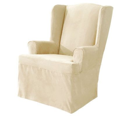 Sure Fit Soft Suede Wing Chair Slipcover Qvc Com Slipcovers For Chairs Wingback Chair Covers Slipcovers