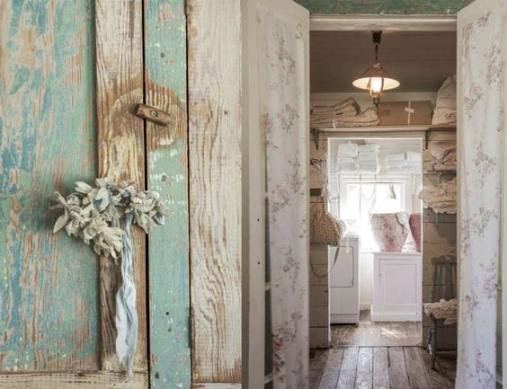 Detail of beautiful aqua weathered wood in a laundry room at #ThePrairie by Rachel Ashwell. #shabbychic #weatheredwood