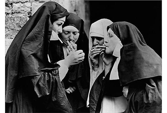 Not all who are virtuous are vice-free, as witnessed in this amusing snapshot of a group of nuns enjoy a cigarette break.: Smoke Break, Naughty Nuns, Black And White, Black White, Bad Habits, Nuns Smoking, Holy Smoke