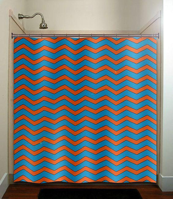 deep turquoise blue orange chevron shower curtain bathroom decor ...