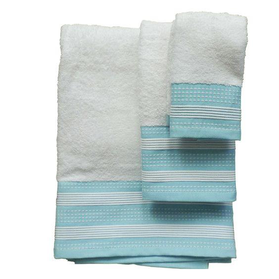 Juego de toallas blanco rallla turquesa