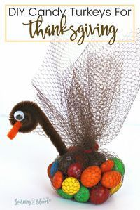 Check out these candy turkey favors for Thanksgiving. They are so much fun and such a simple holiday diy project that the entire family can help with. Kids will love the candy and adults will love how easy they are to create! Have a happy Thanksgiving! #c