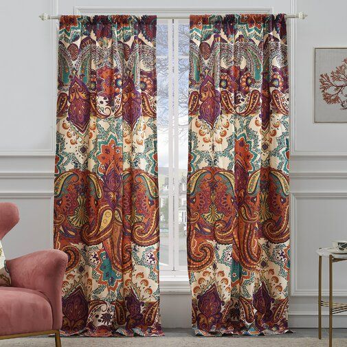 Roskilde Spice Paisley Semi Sheer Curtain Panels Greenland Home