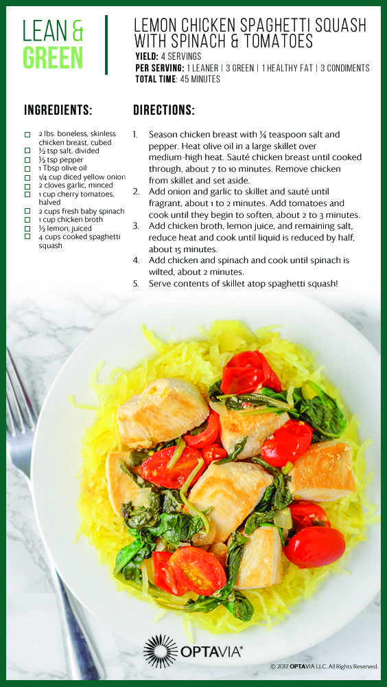 Lemon Chicken Spaghetti Squash With Spinach And Tomatoes Optavia Lean And Green Recipes In