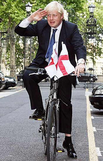 London's Mayor Boris Johnson. Don't be fooled by the buffoonery....he's as sharp as a tack.....and I've a feeling he'll be the next leader of the Tory Party.