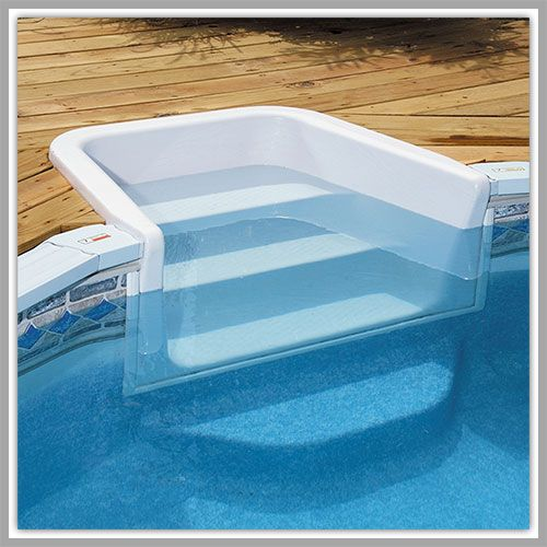 Above ground pools decks steps pool entry system for Above ground pool ladder ideas