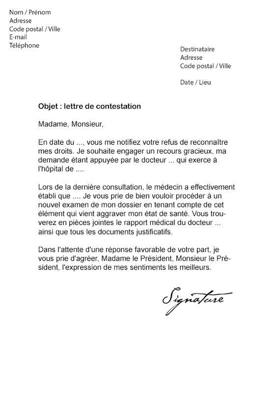 Comment Et Quand Rediger Une Contestation A La Mdph La Commission Des Droits Et De L Autonomie D Lettre De Remerciement Modeles De Lettres Changement Adresse