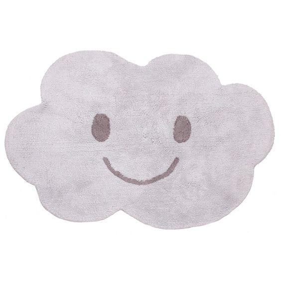 Kinderteppich Wolke, grau, 100% Baumwolle, maschinenwaschbar, 115 x 75 cm, von Nattiot
