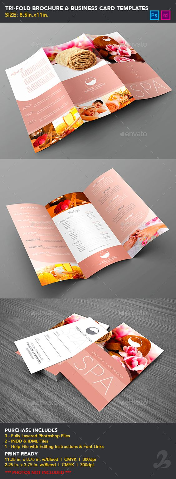 tri fold brochure business card templates spa cards business card templates and brochures. Black Bedroom Furniture Sets. Home Design Ideas