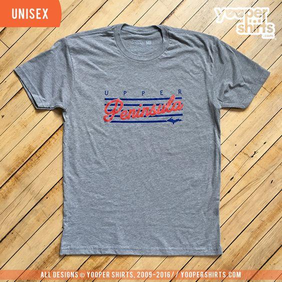 """Upper Peninsula (Stripes)"" Heather Grey T-Shirt"
