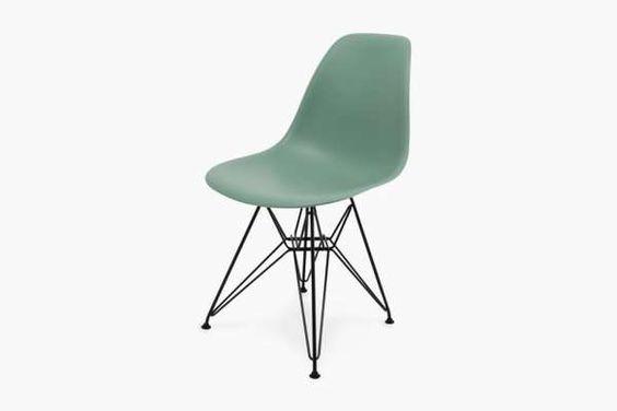 The Century Modern Eames Shell Chair Boasts a Sea-Foam Green Finish #Decor #Retro trendhunter.com
