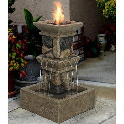 Outdoor Water Fountain Propane Fire Pit Bowl Heater Patio Garden Decor Furniture Gardens Fire