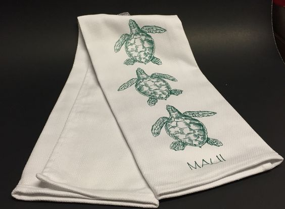Original Design 100% Cotton Honu and Maui Tea Towel