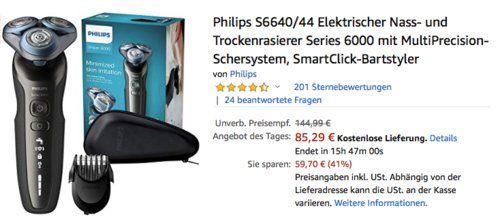 Philips S664044 Nass und Trockenrasierer inkl. SmartClick